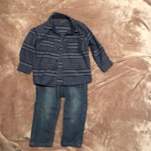 DKNY button up shirt and jeans